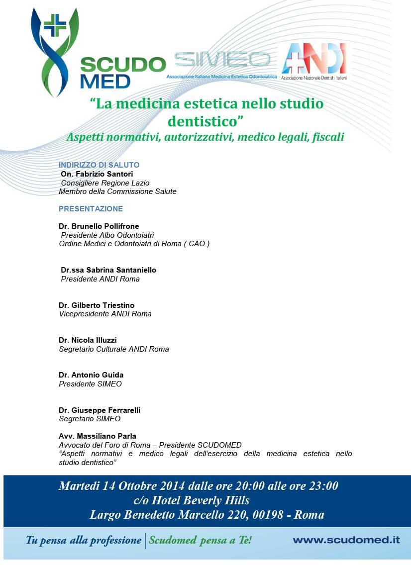 """Locandina convegno """"La medicina estetica nello studio dentistico"""" 14/10/2019"""
