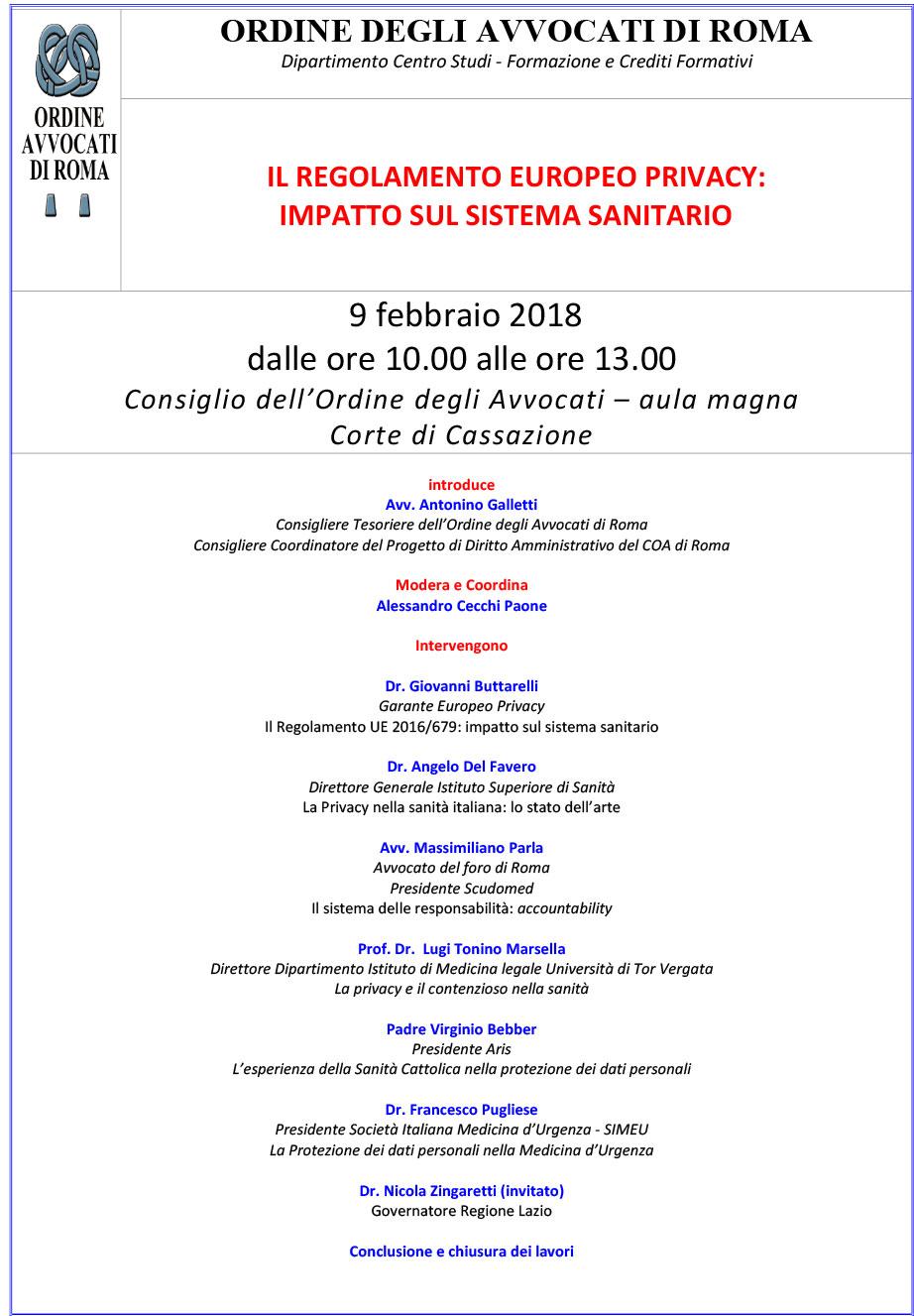 Locandina IL REGOLAMENTO EUROPEO PRIVACY: IMPATTO SUL SISTEMA SANITARIO