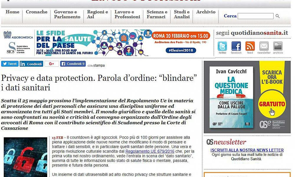 Quotidiano sanità del 13/2/2018