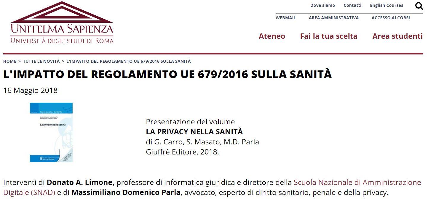 Locandina presentazione L'IMPATTO DEL REGOLAMENTO UE 679/2016 SULLA SANITÀ