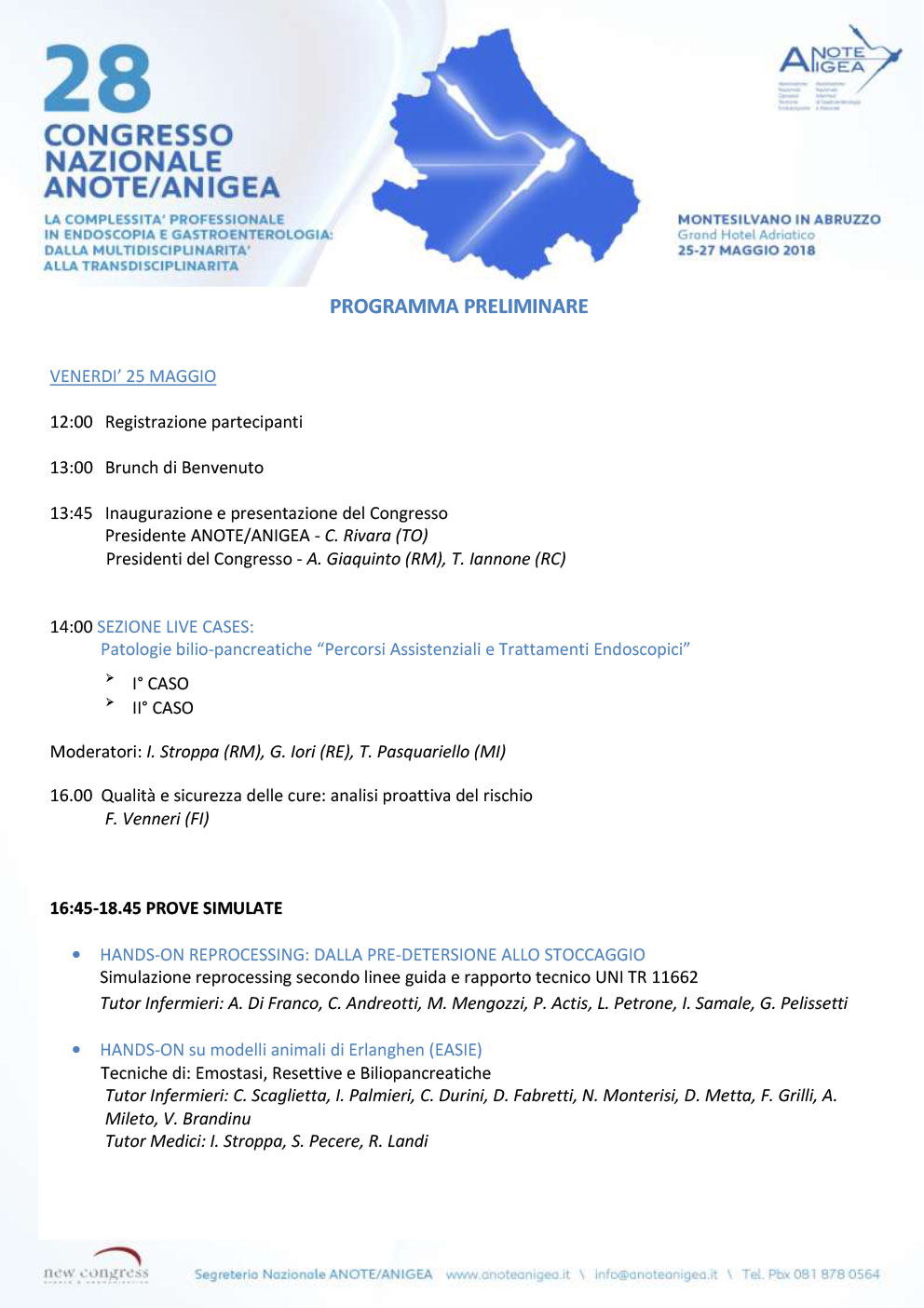 Programma Congresso Nazionale Anote/Anigea