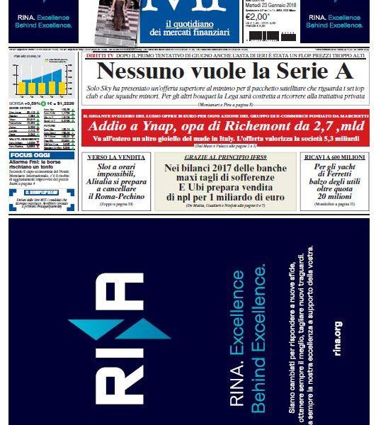 Milano Finanza 23/1/2018 Copertina