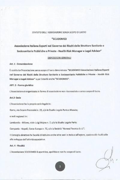 Statuto Scudomed aggiornato al 20/12/2019