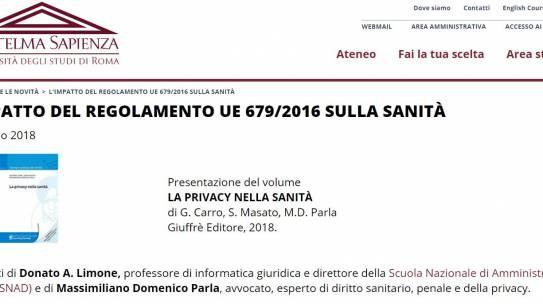 L'IMPATTO DEL REGOLAMENTO UE 679/2016 SULLA SANITÀ