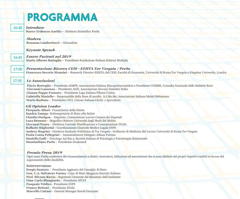 Programma evento Presa 2019