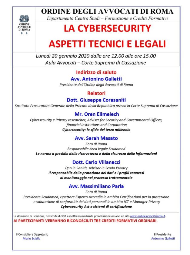 Locandina evento Cybersecurity, Roma, 20 gennaio 2020